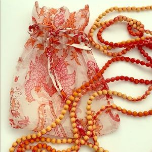 "Jewelry - Single Strand 168"" Organza Wrapped Bead Necklace"